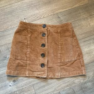 Brown Corduroy Button Front Mini Skirt Small
